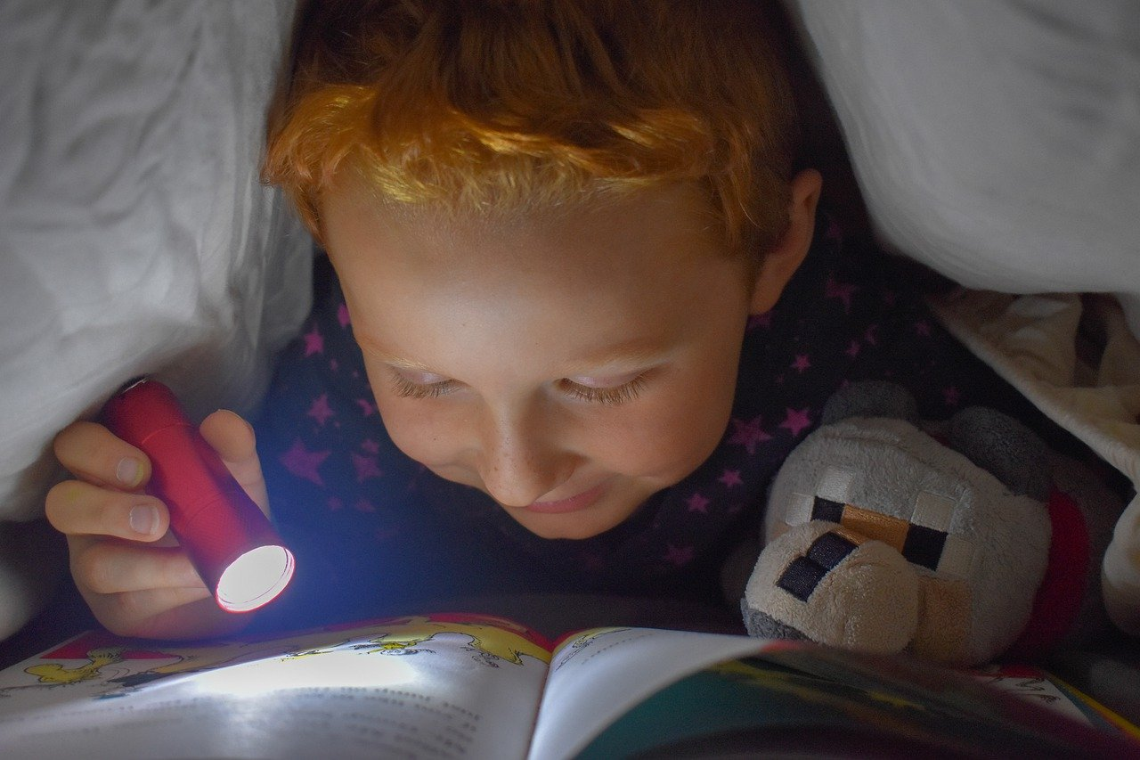 reading, bed, flashlight
